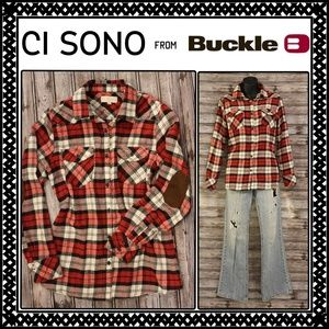 Red Plaid Button Down w Elbow Pads by Ci Sono